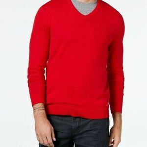 Alfani Mens Knit V-Neck Long Sleeves Pullover Swea